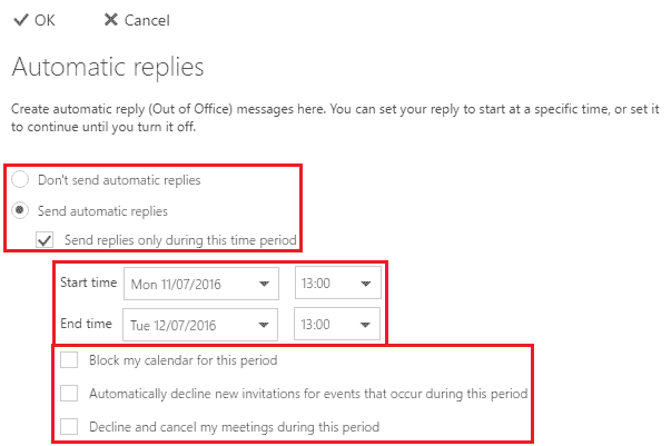 Enabling Automatic Replies In Office 365